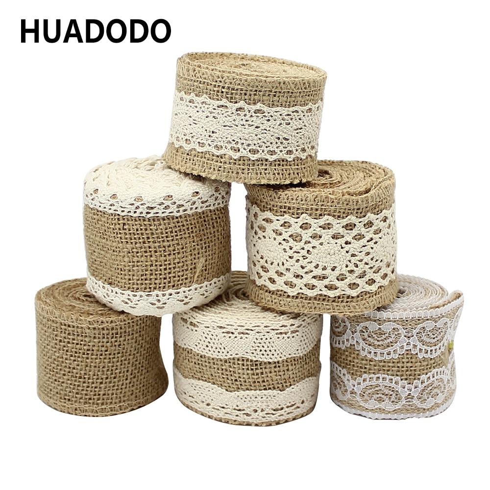 HUADODO 2M Burlap Ribbon Cotton Crocheted Lace Trim Vintage Wedding Decoration Jute Hessian Rustic Event Party DIY Supplies