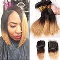 Ombre Bob Straight Hair Brazilian Human Hair Bundles With Closure 3 Bundles With Closure Non Remy Two Tone 1B/27 Hair Weave