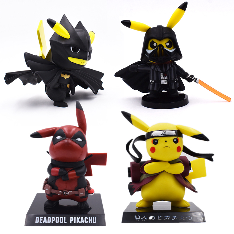 4 Styles Anime Cute Pikachu Cosplay Deadpool Batman Darth Vader Naruto PVC Action Figure Dolls Collection Model Christmas Toy4 Styles Anime Cute Pikachu Cosplay Deadpool Batman Darth Vader Naruto PVC Action Figure Dolls Collection Model Christmas Toy