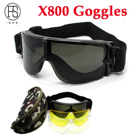 New Hotsale USMC Airsoft X800 Tactical Sunglasses Glasses Goggles GX1000 Black 3 Lens