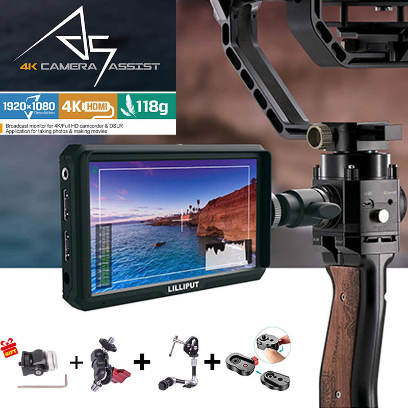 Lilliput A5 1920x1080 4K HDMI in/out Broadcast 5 inch Camera/Video Field Monitor for Canon Nikon Sony Zhiyun Gimbal smooth 4 luces led de policía