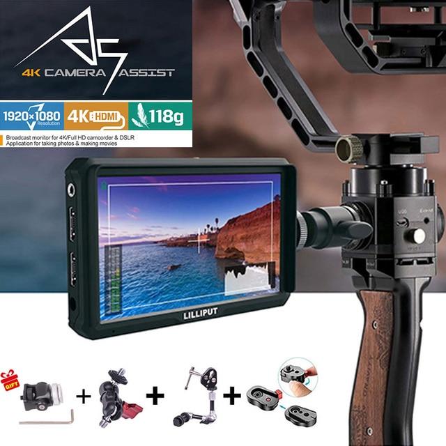 كاميرا lilliplace A5 1920x1080 4K HDMI داخل/خارج البث 5 بوصة/فيديو رصد المجال لكانون نيكون سوني Zhiyun Gimbal السلس 4