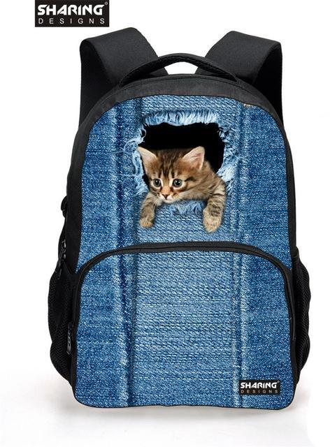 2016 Famous Brand Women school bags Vintage Cute Cat Head School Backpacks for Teenager Girls Student Cmoputer Mochila Feminina