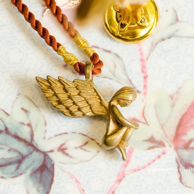 coppertist.wu Lonely angel Lucky Mascot Key Chain Vintage Handmade Brass  Pendant Keychains Key Ring For Men and Women ba3cc686f6