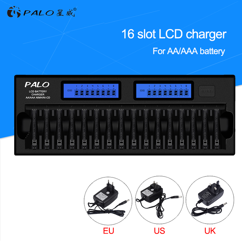 Palo New 16 slots Intelligent 2-LCD Display AA/AAA Battery Charger For NI-MH NI-CD Rechargeable Batteries with Car charger palo 8 slots battery charger nc09 with indicator for aa aaa ni mh ni cd rechargeable battery 8pcs aa rechargeable batteries