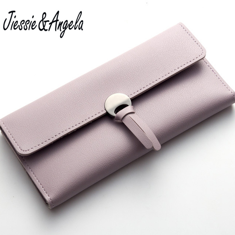 Solid Candy Color Hasp Wallet Women Purse Long Designer Leather Coin Purses Female Clutch Credit Card Holders Jiessie&Angela bisi goro new 2017 women wallets cowhide leather long clutch wallet female high capacity coin purse card id holders candy color href
