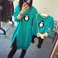 Exclusive Custom 2017 Fall Winter Parent-Child Outfit Cartoon Penguin Split Thickening Long Fleece Sweater Family Clothes G367