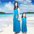 Согласованные мать и дочь одежда семья взгляд мама и я праздничное платье родитель - ребенок наряд ма e Filha макси-бич платье