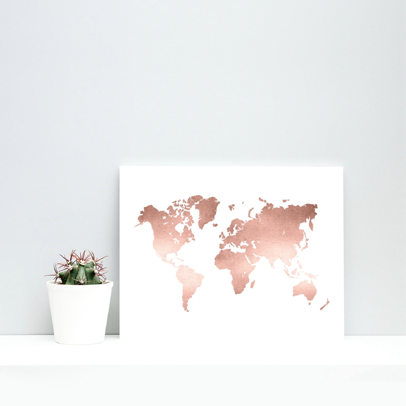 Rose Gold Map Poster Office Decor