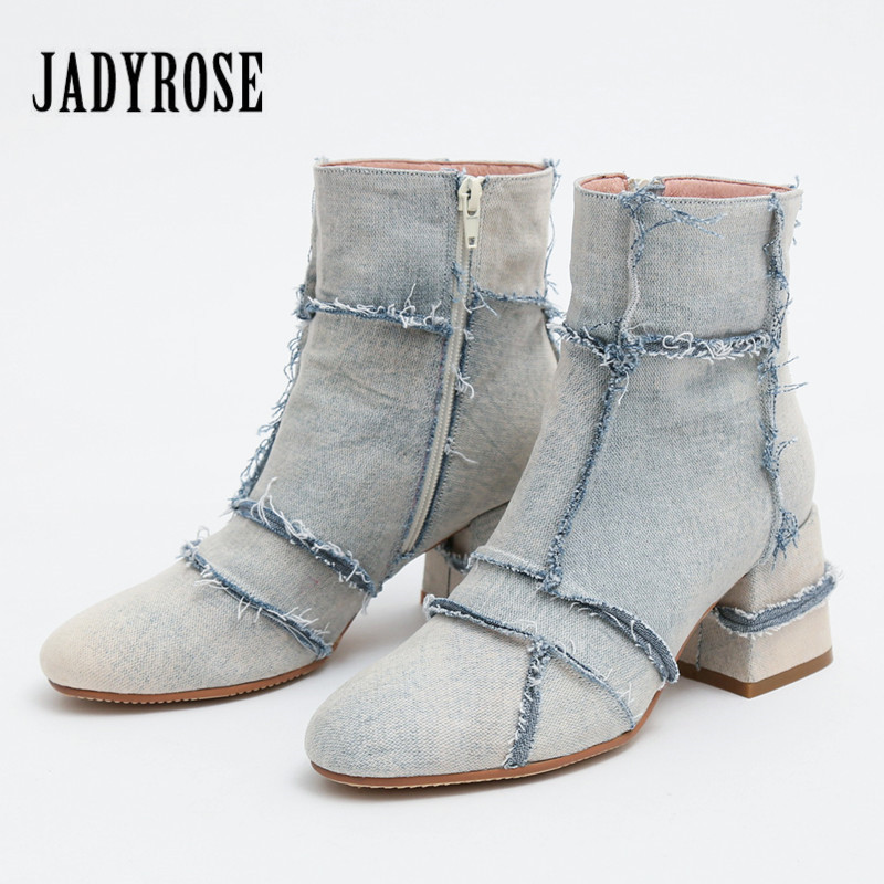 Jady Rose Fashion Autumn Ankle Boots for Women 2018 New Thick High Heel Denim Boots Female Rome Casual Short Booties Shoes Woman front lace up casual ankle boots autumn vintage brown new booties flat genuine leather suede shoes round toe fall female fashion