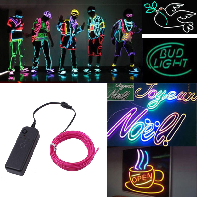 Glow Neon Luminescent Line EL Wire Cable Light Strip Rope Bar Decoration DIY Colorful For KTV Bar Street Billboard Party Light