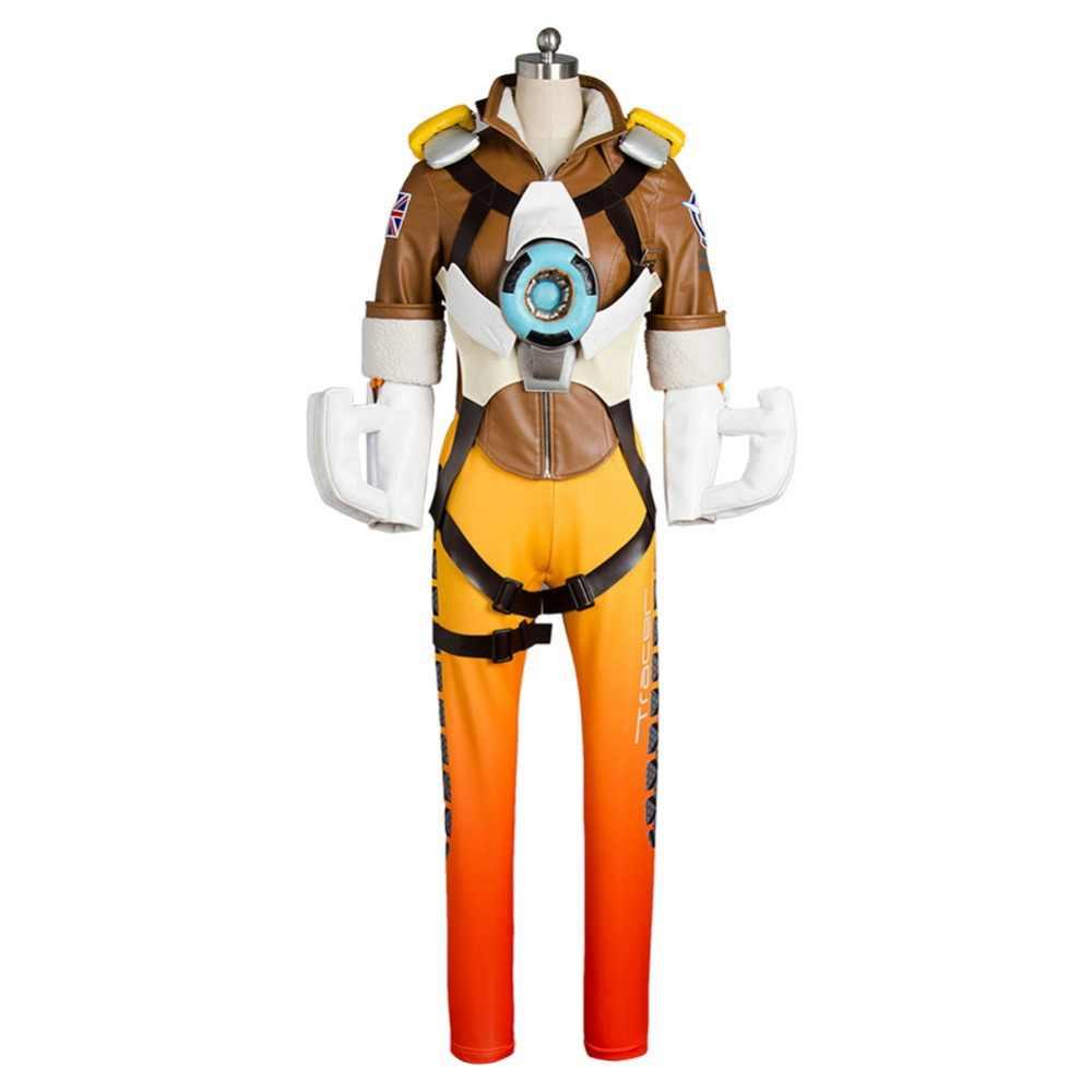 Oyun düşük cosplay Lena Oxton Tracer takım elbise asker 76 Tracer cosplay kostüm cadılar bayramı kostümleri yetişkin için Tracer kostüm maske