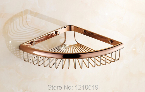 US Free Shipping Wholesale And Retail Triangle Corner Bath Shelf Wall Mounted Rose Golden Polish Cosmetic