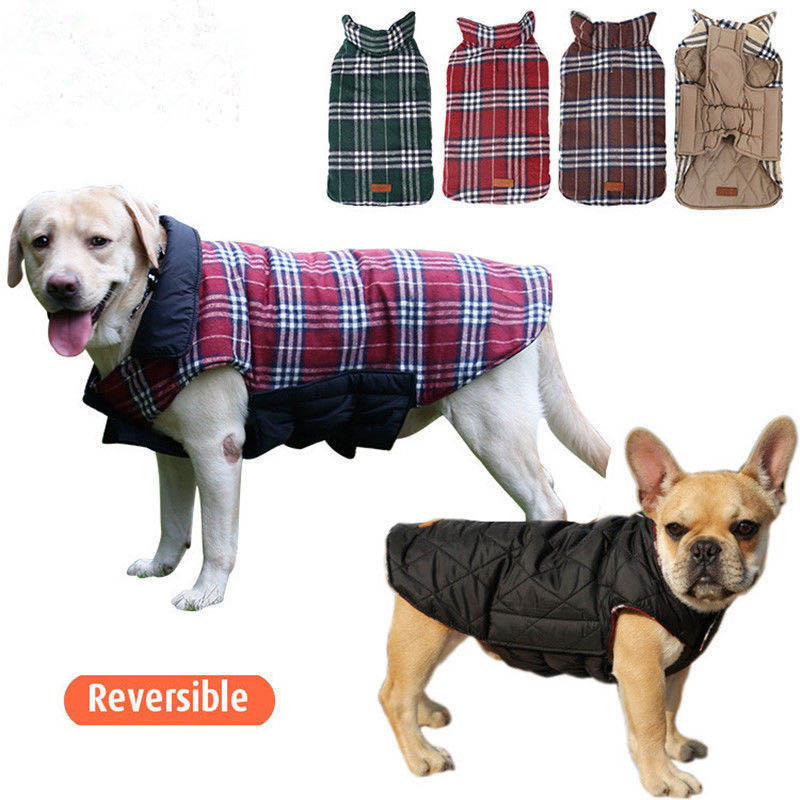 New Pet Dog Clothes 2016 Design Waterproof Reversible Dog Jackets Winter Warm Plaid Vest Jacket for Small Large Puppy Dog Coat
