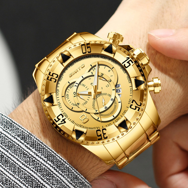 GIMTO Luxury Brand Gold Men Watch Golden Stainless Steel Waterproof Big Dial Mal