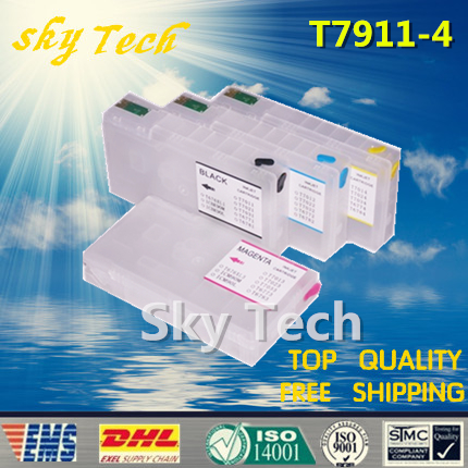 ФОТО Empty Refillable ink Cartridge for T7911 -T7914 , Suit for Epson WF-4630DWF 4640DTWF 5110DW 5190DW 5620DWF 5690D With ARC Chips