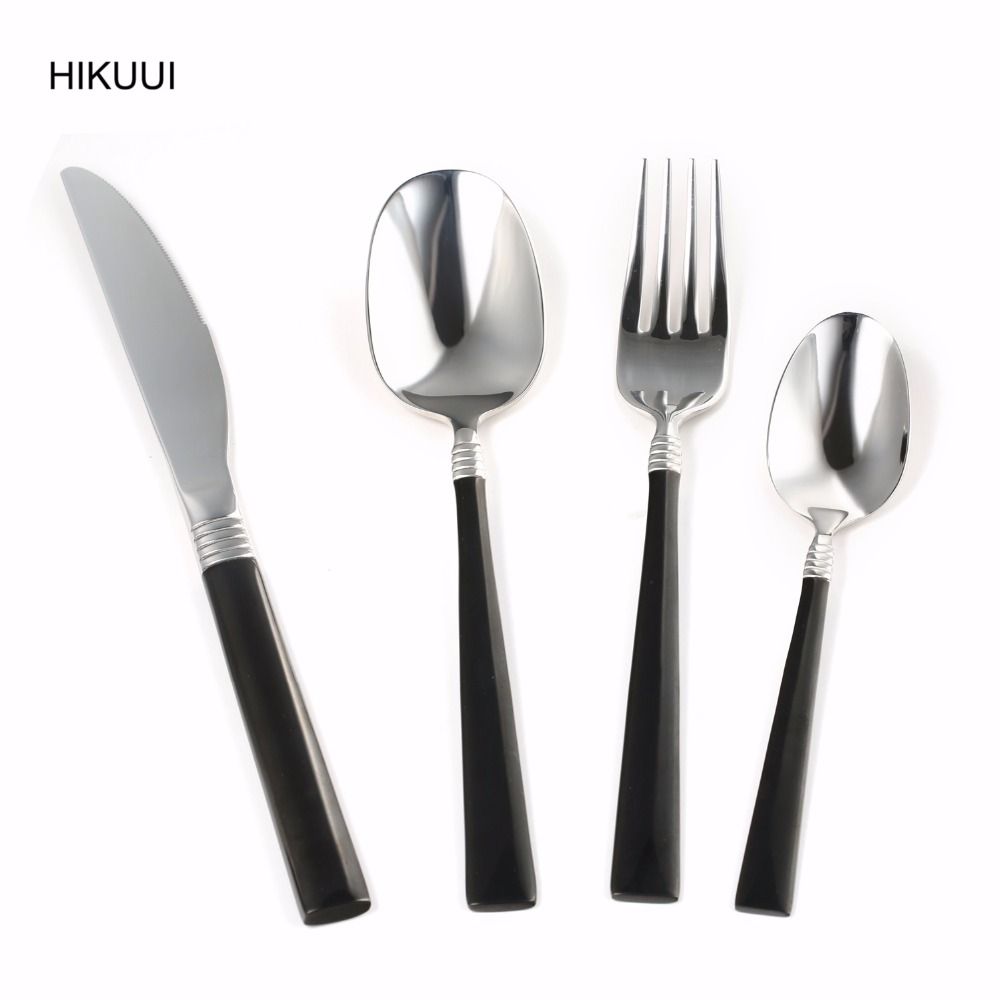 popular black flatwarebuy cheap black flatware lots from china  - pcs  high grade stainless steel black cutlery set flatware mirrorpolished knife fork cutlery set western food tableware