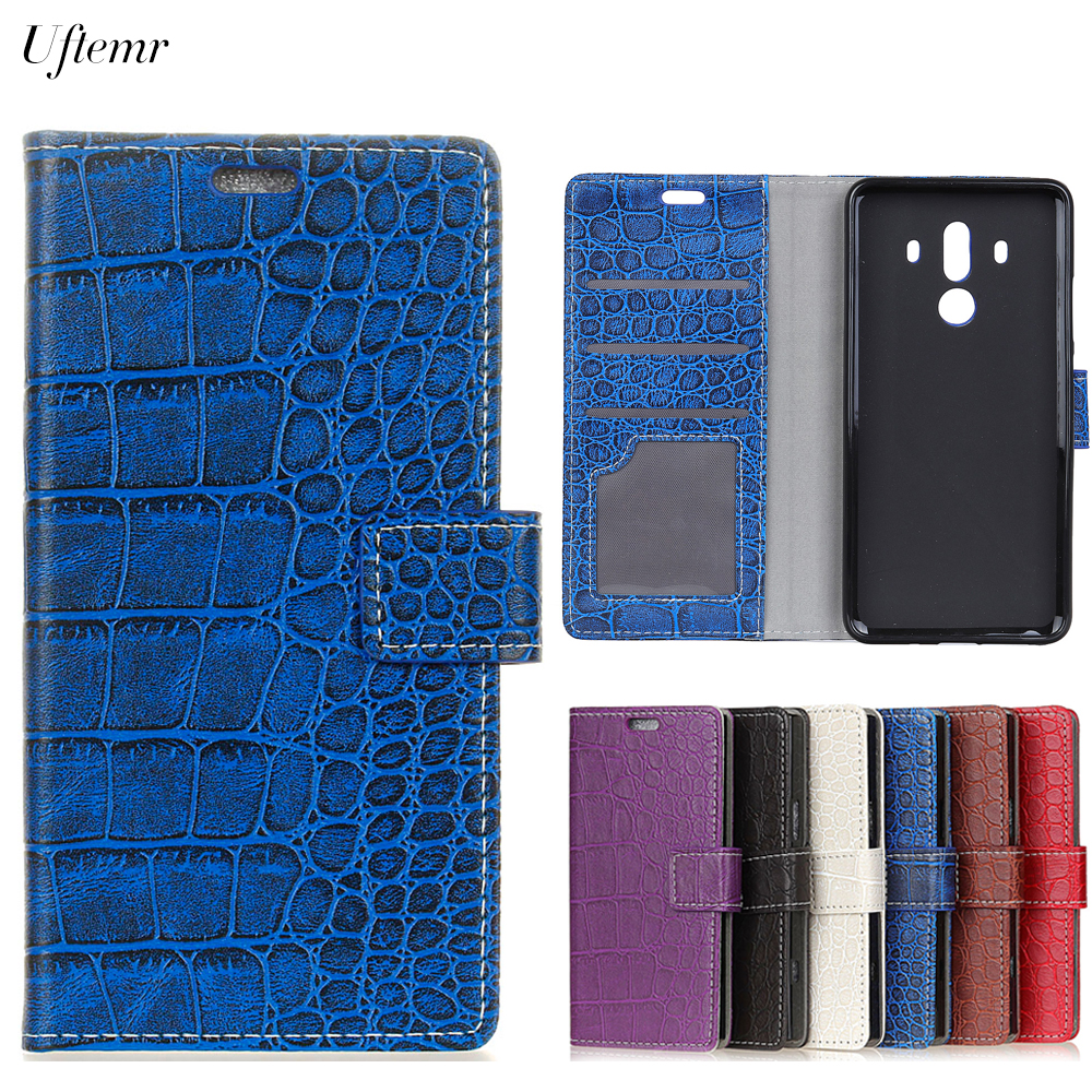 Uftemr Vintage Crocodile PU Leather Cover For Huawei Mate 10 Pro Protective Silicone Case Wallet Card Slot Phone Acessories ...