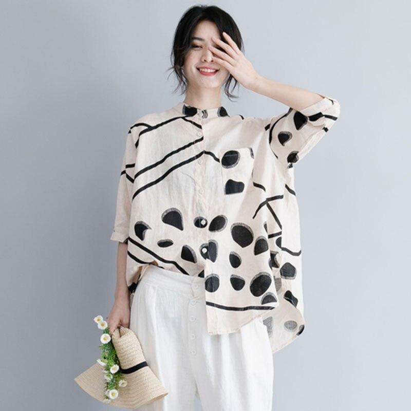 F&JE Plus Size Women Blouse Loose Shirt Lady Tops Cotton Linen Vintage Print Female Clothes Big Sizes Casual Blusas Feminina A98