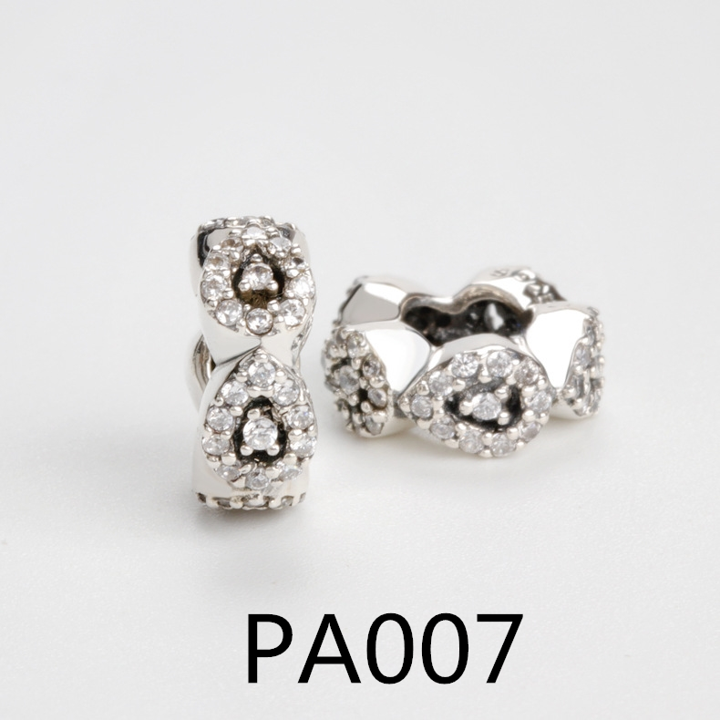 PA Real 925 Sterling Silver Beads Rose Gold Rabbit Cat Family Tree Heart Charm Beads Fits Bracelets DIY Jewelry