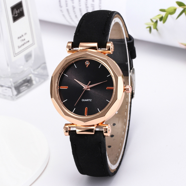 Fashion Women Black Green Brown Gray Small Shinning Leather Watch Simple Luxury