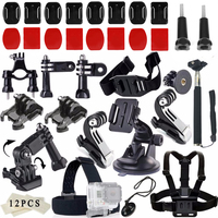 Gopro Accessories Set Chest Head Strap J Shaped Buckle Mount Screws 3 Way Arm Tripod Adapter
