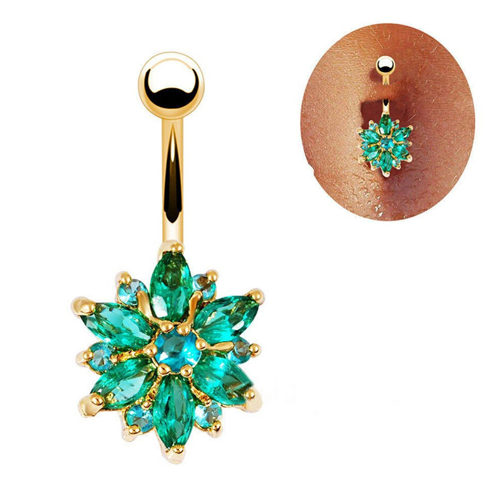 316L Stainless Steel Green Flower Crystal Navel Bars Gold Belly Button Ring Navel Piercing Jewelry