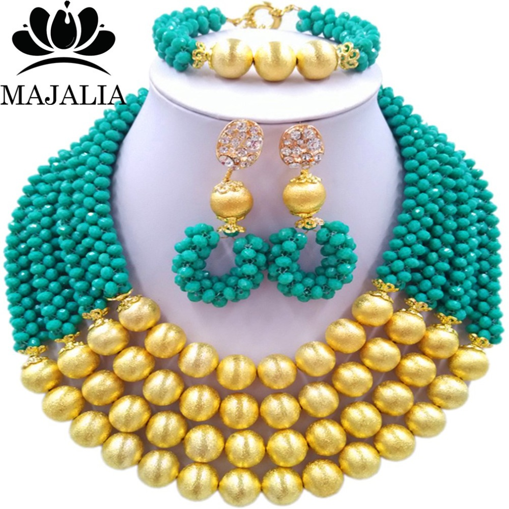 Majalia Fashion Teal green Nigerian Wedding African Jewelry Set Crystal Necklace Bride Jewelry Sets Free Shipping 3LI023 majalia fashion beige nigerian wedding african jewelry set crystal necklace bride jewelry sets free shipping 3li004