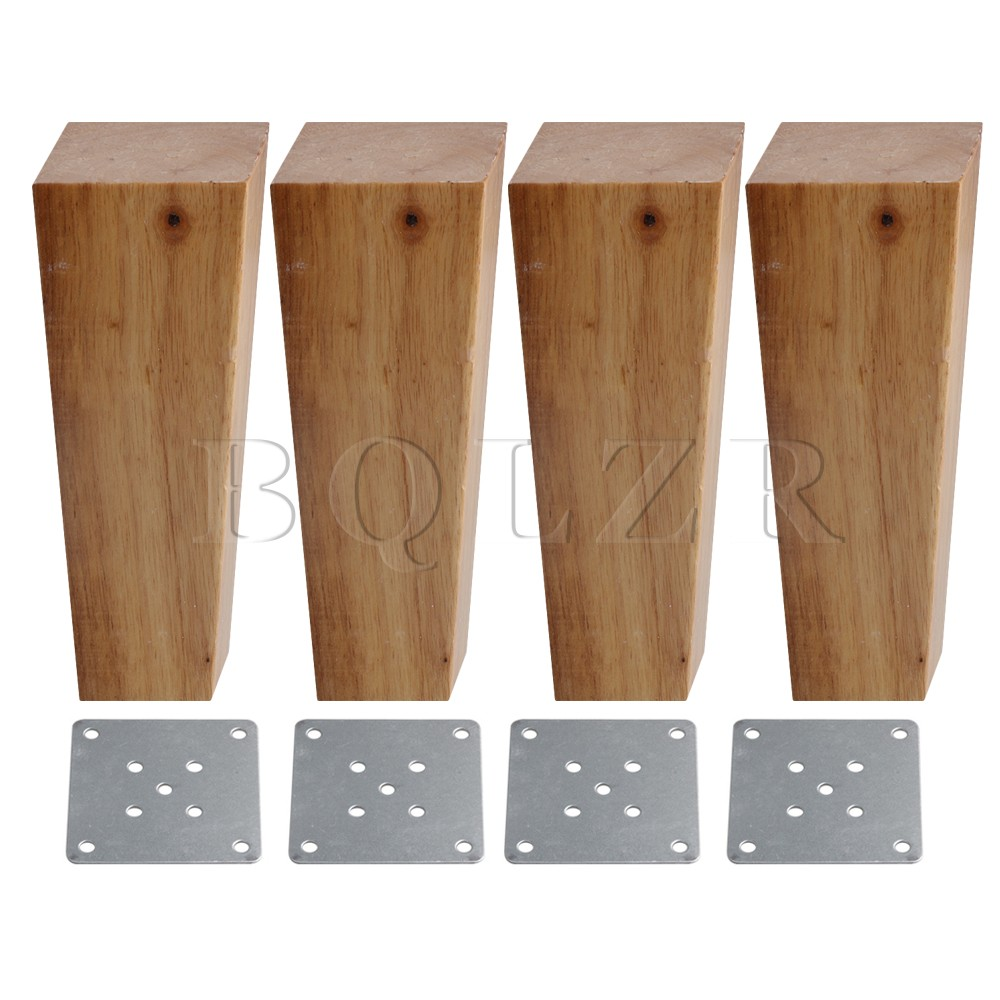 BQLZR 4 Pieces Wooden Right Angle Trapezoid Sofa Feet 15CM Height 4x5.5CM Surface