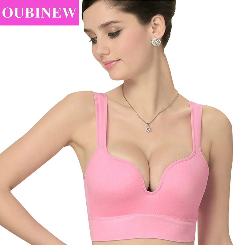 OUBINEW Sexy Seamless 3D outdoors Tops Deep U Push Up Vest with Padding Underwear for Woman Adjustable Straps Vest fitness Tops