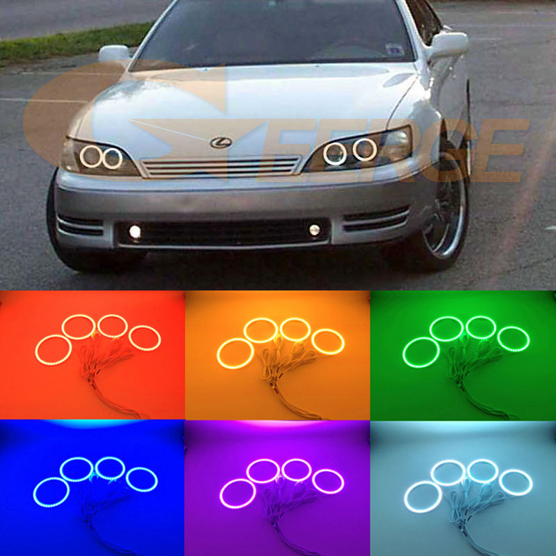 For Lexus ES300 Toyota Windom 1992 1993 1994 1995 1996 Excellent Multi-Color Ultra bright RGB LED Angel Eyes kit Halo Rings 1993 1998 toyota supra duraflex vader body kit 5 piece