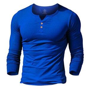 Image 2 - T shirt henley homme MUSCLE living robe ajustée chemise à manches pour hommes chemises ajustées coton décontracté musculation fitness t shirt