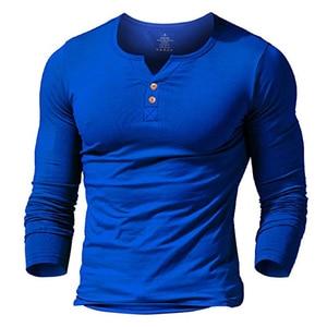 Image 2 - 筋肉アライブメンズヘンリー tシャツフィットドレススリーブシャツ男性フィットシャツ綿カジュアルボディービルフィットネス tシャツ