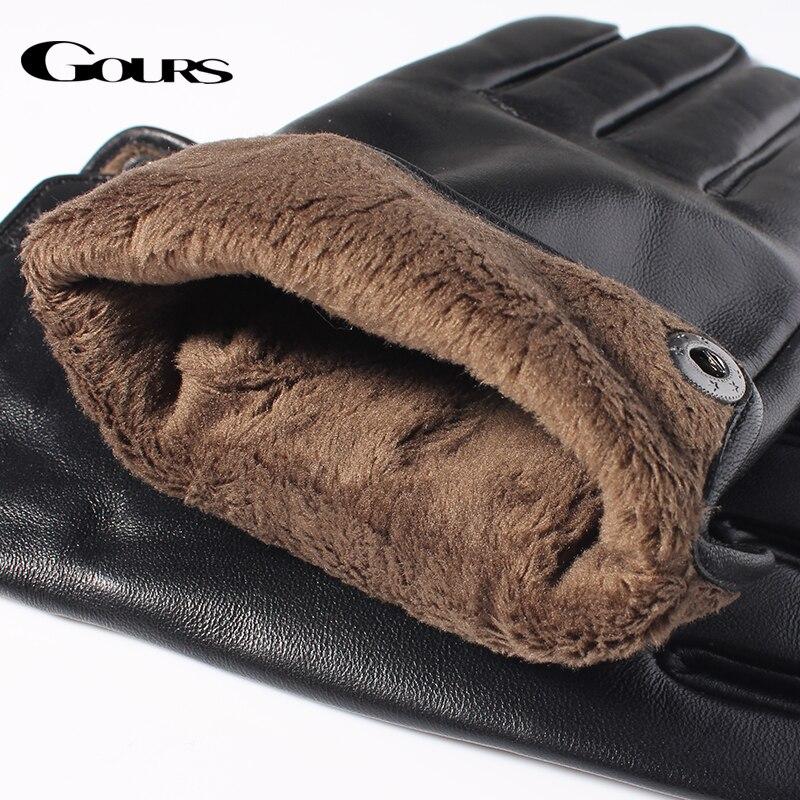 Gours Mäns äkta läderhandskar Mode varumärke Real Sheepskin Black - Kläder tillbehör - Foto 5