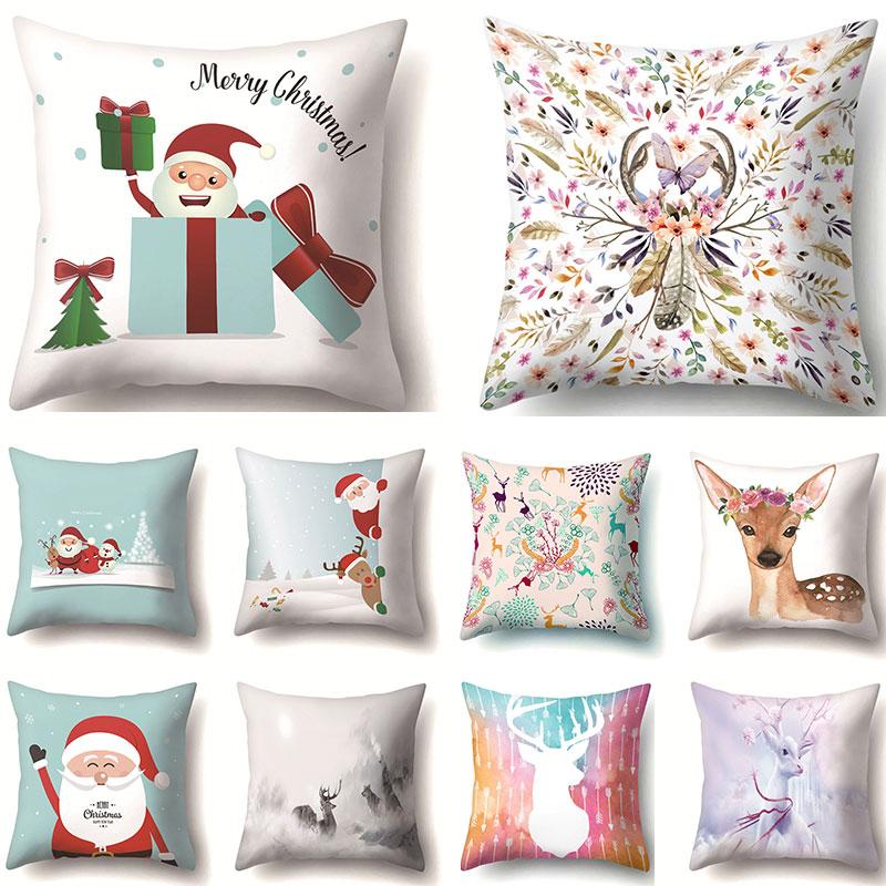 Christmas Animal Cushion Cover Sofa Pillow Case Dog Dress Up New Year Decorative