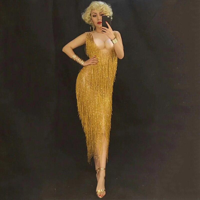 Robe strass pompon doré scène danse porter Sexy discothèque bal danse Costume une pièce tenue Performance vêtements DJ320