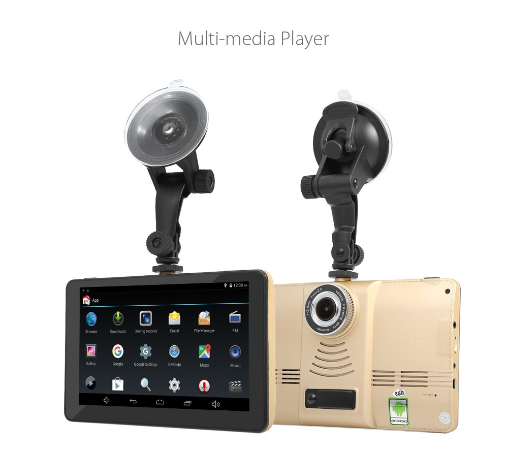170 Degree 5 inch Android 4.4 Car Tablet GPS 1080P DVR Recorder WiFi / FM Car Multi-media Player Car GPS Navigation Navigator цена 2017