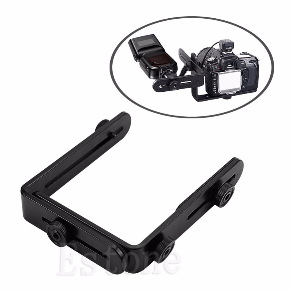 New Metal L shaped Double Dual Bracket Holder Mount for Canon Camera Speedlite Flash