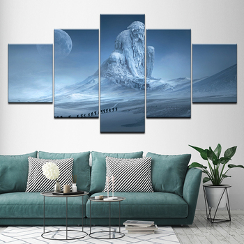 Canvas Painting The Snow statue in snow landscape 5 Pieces Wall Art Painting Modular Wallpapers Poster Print for Home Decor canvas painting cristiano ronaldo football sport real madrid wall art painting modular wallpapers poster print home decor