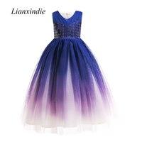 badca7e082e94 Teen Girls Bling Formal Party Dress Tulle Long Full Prom Gradient Birthday  Wedding Frocks Dresses Size