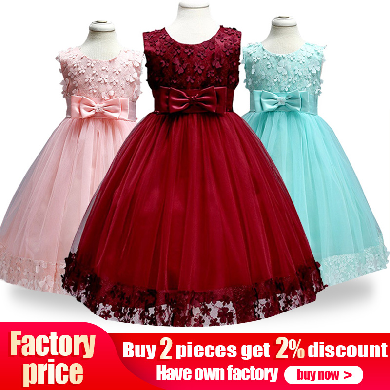 Retail Appliques Draped Sequined   Flowers     Girl     Dresses   With Ribbon Bow Elegant Lace   Flower   Bow First Communion   Dresses   LL314