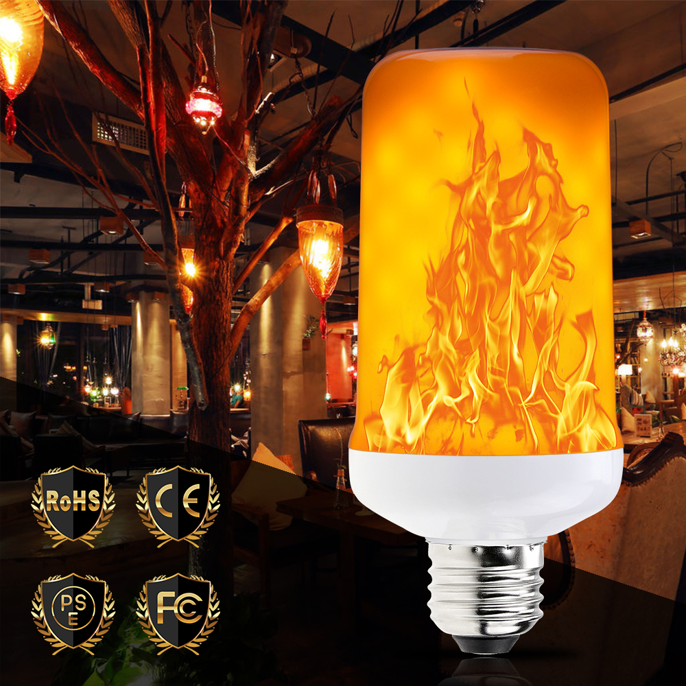 LED Dynamic Flame Effect Bulb E27 LED Flame Lamps E14 220V Creative Emulation Fire Light Bulb E26 110V Decorative Lamp Two Modes
