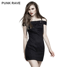 PUNK RAVE Women Novelty Halloween Christmas Gothic Punk Horizontal Neck Strapless Military Uniform Casual Dress