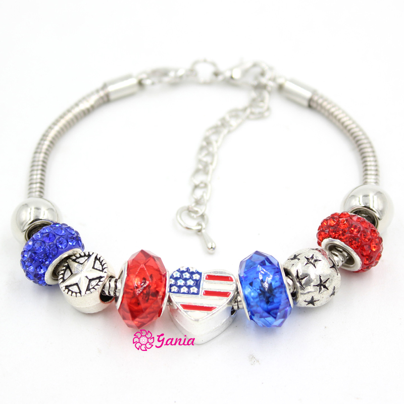 New Arrival Fashion Jewelry Bracelet Patriotic Style Star Beads ...