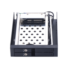 Dual bay 2.5 inch SATA aluminum internal HDD/SSD case with trayless mobile rack hot-swap enclosure in Floppying Disk Position