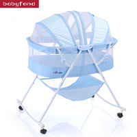 Baby cradle concentretor folding bed newborn baby carry portable with roller cradle bed