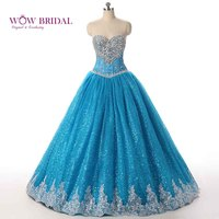 Wowbrida Real Picture Custom Made Sweetheart Blue Tulle Crystal Quinceanera Dresses Elegant Quinceanera Dress Puffy Sweet 16