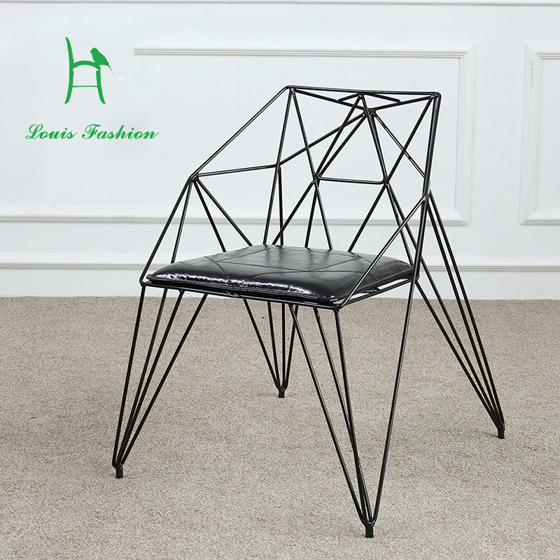 creative dining chair diamond wire are hollow iron furniture design
