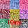 Envío Libre 10mm 50 unids Colores AB, ABS Medio Alrededor de las perlas de Imitación Perlas, Perlas redondas para artesanías, Artes de DIY Decoración Del Arte Del Clavo
