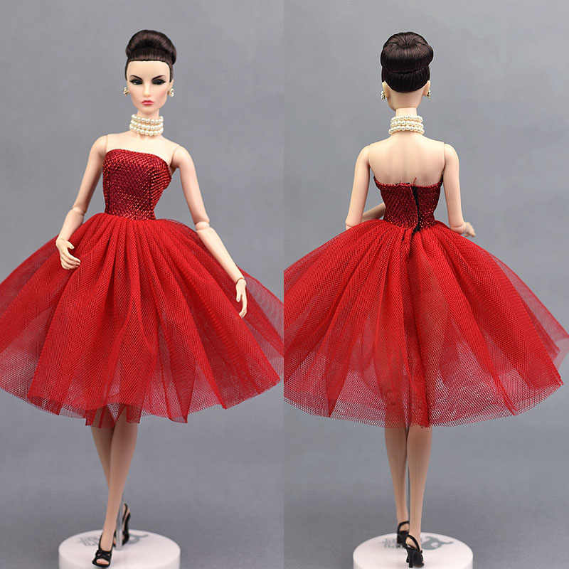 0f08b3f9923b8c3 ... Красное короткое балетное платье для куклы Барби цельное вечернее платье  Vestido Одежда для кукол Барби 1
